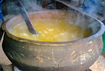 zanzibar Food Urojo soup in a clay bowl