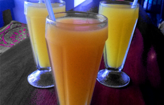 Juice on table at Stone Town Café