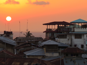 Food Travel Zanzibar. Sunset over Stone Town