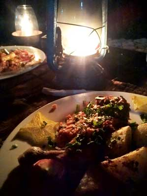 Chicken dish at Mbuyuni Bach Village at food travel zanzibar