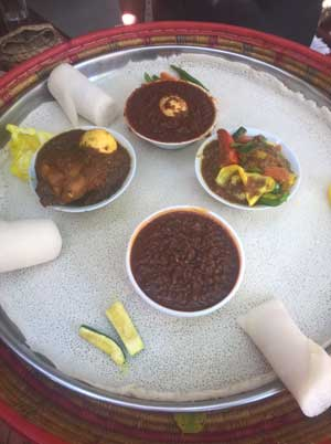 Taste ZAnzibar at Ethopian Restaurant showing the combination meal